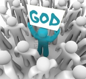 15565081-a-blue-person-stands-out-in-a-crowd-holding-a-sign-with-the-word-god-on-it-spreading-the-holy-teachi